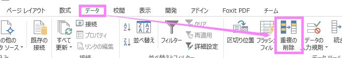 エクセルのリボン→重複の削除の方法