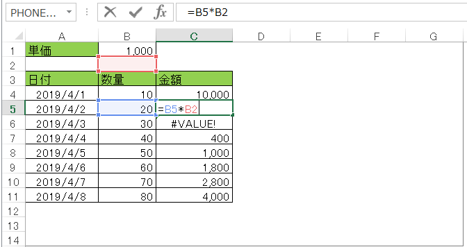 コピペで設定したい数式の例