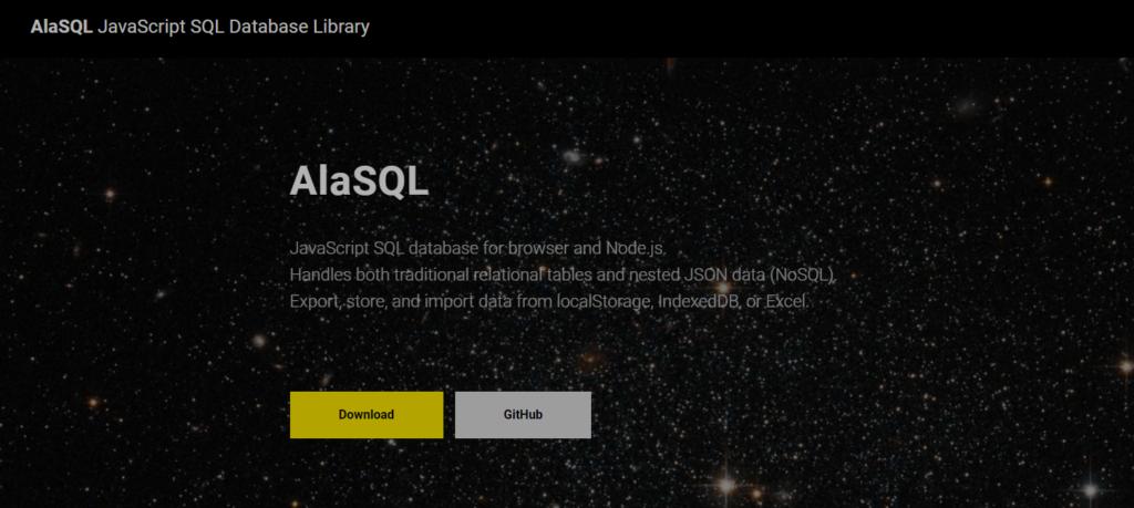JavaScriptライブラリ:AlaSQLのサイト