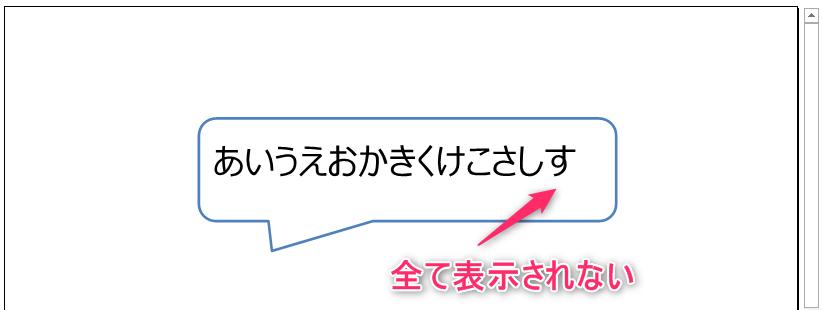吹き出し図形内に設定した文字が全て表示されない例