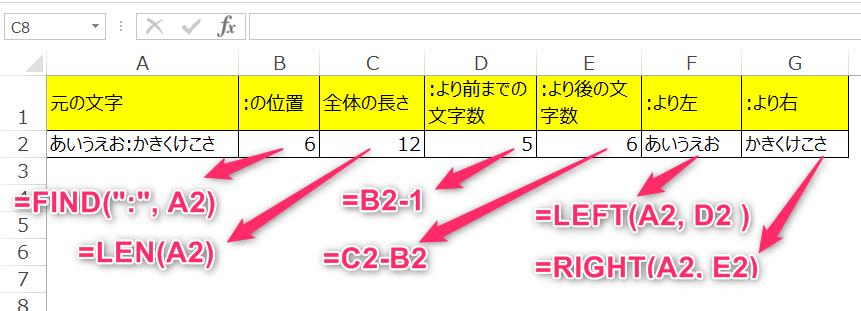 特定文字より左または右を取得する関数をもう少し分解した例