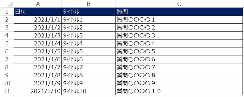 エクセルの日付込みの一覧表